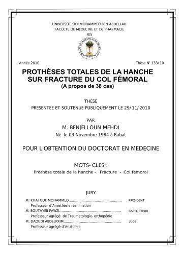 PROTHÈSES TOTALES DE LA HANCHE SUR ... - Toubkal