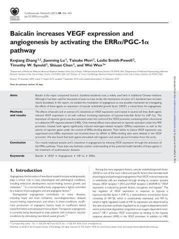Baicalin increases VEGF expression and ... - Cardiovascular Research