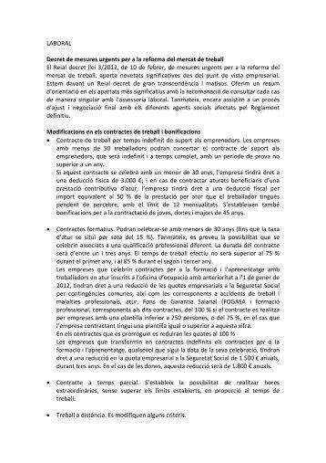 LABORAL Decret de mesures urgents per a la reforma del mercat ...