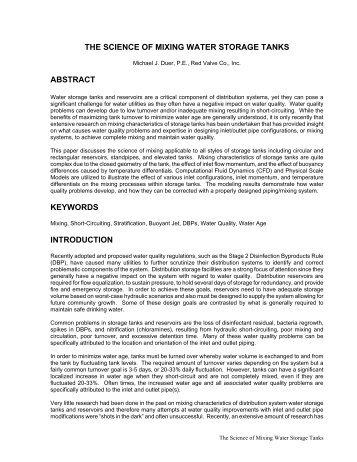 The Science of Mixing Water Storage Tanks - NC AWWA-WEA