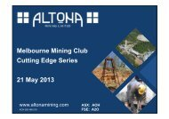Melbourne Mining Club Cutting Edge Series 21 May ... - Altona Mining