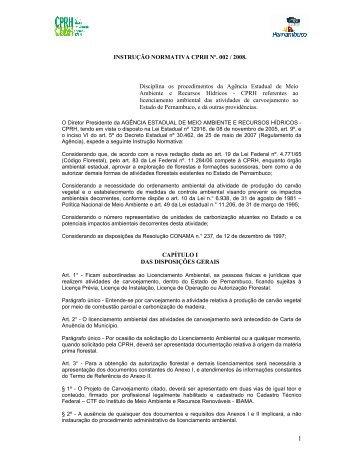 INSTRUÇÃO NORMATIVA CPRH Nº. 002 / 2008. Disciplina os ...