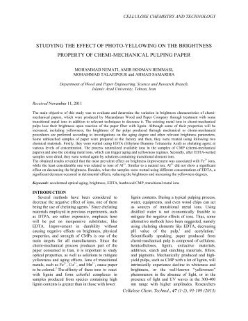 studying the effect of photo-yellowing on the brightness property of ...