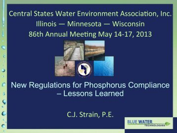 New Regulations for Phosphorus Compliance - Lessons Learned