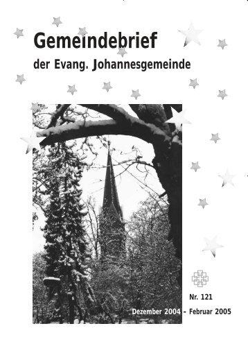 Gemeindebrief Dezember 2004 - Ev. Johannesgemeinde Gießen