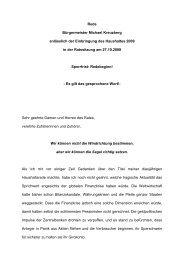 Rede Bürgermeister Michael Kreuzberg anlässlich der Einbringung ...