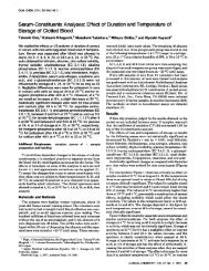 Serum-Constituents Analyses: Effect of Duration and Temperature of ...