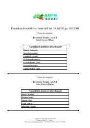 Procedura di mobilità ai sensi dell'art. 30 del D.Lgs. 165/2001