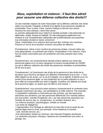 Abus, exploitation et violence : il faut être adroit pour ... - AQDR