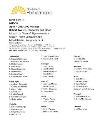 Draft 3-‐19-‐13 NHCC 8 April 7, 2013 2:00 Matinee Robert Tweten,