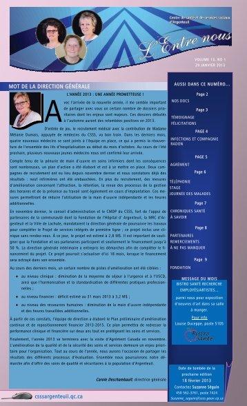 Volume 13 Numéro 1 - CSSS Argenteuil