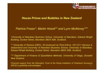 House Prices and Bubbles in New Zealand Patricia Fraser*, Martin ...