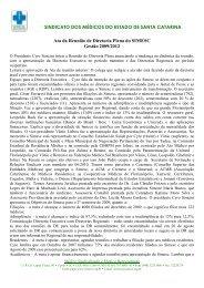 ata reuniao diretoria plena - Sindicato dos Médicos do Estado de ...
