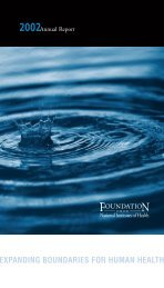 2002 Annual Report (PDF) - Foundation for the National Institutes of ...