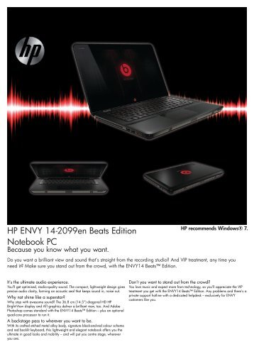 HP ENVY 14-2099en Beats Edition Notebook PC - ComX