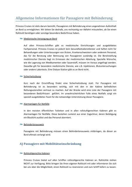 Informationen für Passagiere mit Behinderung - Princess Cruises