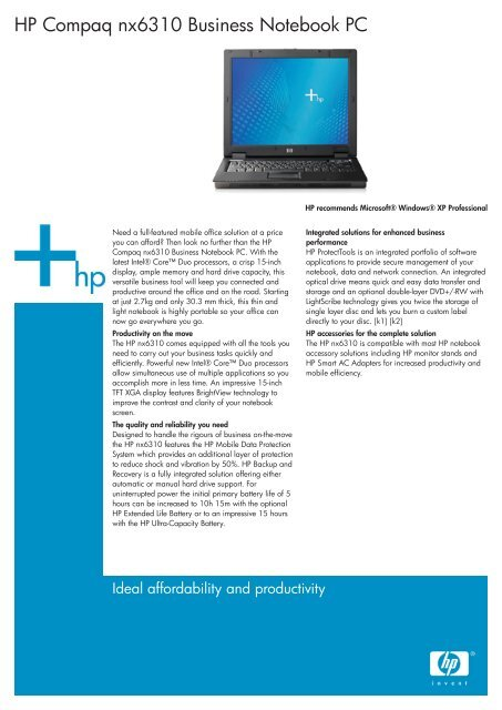 HP Compaq nx6310 Business Notebook PC - ComX
