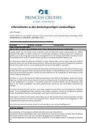 Informationen zu den deutschsprachigen ... - Princess Cruises