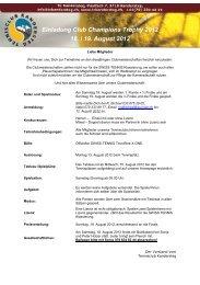 Einladung Club Champions Trophy 2012 18. / 19. August 2012