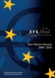 Post-Master Douane 2009 / 2010 - Europese Fiscale Studies