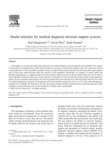 Model selection for medical diagnosis decision support systems