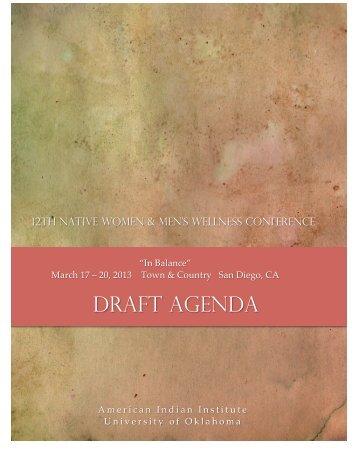 2013 NWMW Program Agenda – Draft Copy - American Indian Institute