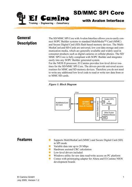 SD/MMC SPI Core El Camino - Altera