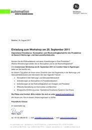Einladung zum Workshop am 28. September 2011 - b+i automation