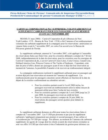carnival corporation & plc supprimera volontairement le supplément ...