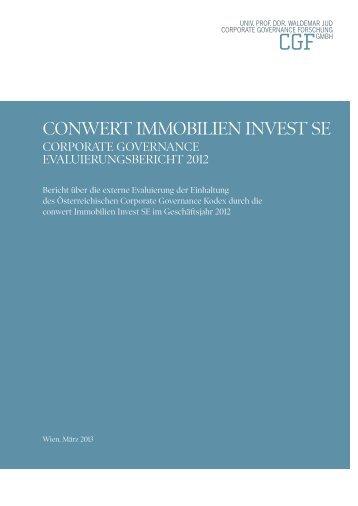 Corporate Governance Evaluierungsbericht 2012 - conwert ...