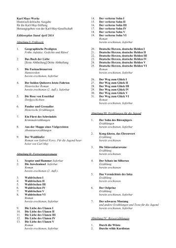 Editionsplan -->> pdf - Karl Mays Werke