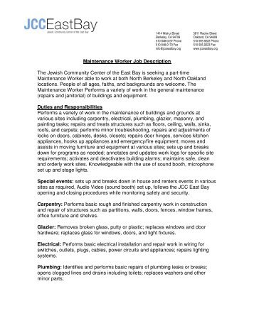 Maintenance Worker Job Description The Jewish ... JCC East Bay