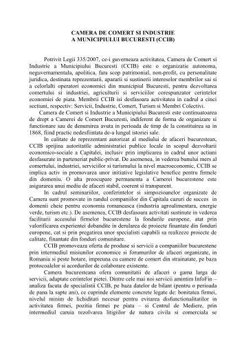 CAMERA DE COMERT SI INDUSTRIE - Ziua Veche