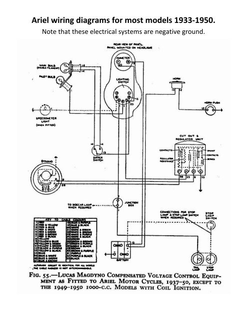ariel wiring diagrams for most models 1933-1950  - ariel motorcycle