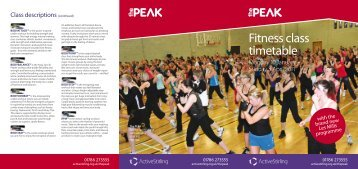 Fitness class timetable - The Peak at Stirling Sports Village