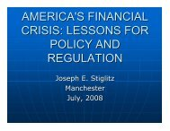 america's financial crisis: lessons for policy and regulation