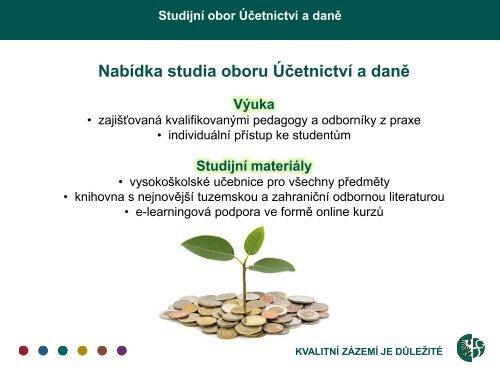 Studijní obor Účetnictví a daně