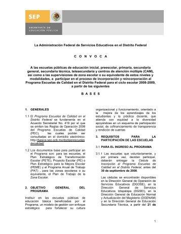 Convocatoria PEC VIII (29 mayo 2008) - Sepdf.gob.mx
