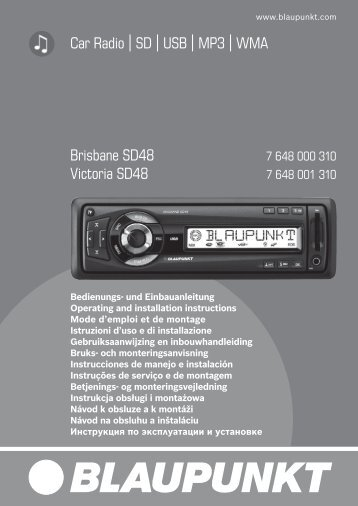 Car Radio SD USB MP3 WMA Brisbane  SD48 Victoria ... - Blaupunkt