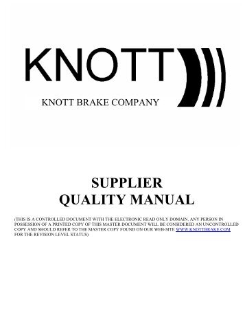 Band brakes knott brake company for Supplier quality manual template
