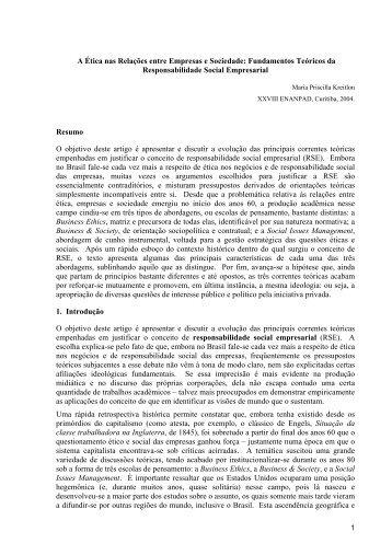 A Ética nas Relações entre Empresas e Sociedade - Portal Gestão ...