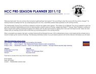 HCC PRE-SEASON PLANNER 2011/12 - Heatherdale Cricket Club