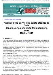 BEH 08/97 Analyse de la survie des sujets atteints de Sida dans les ...