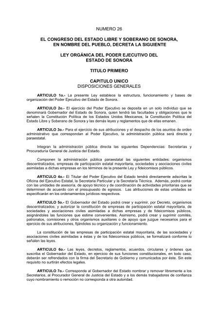 Ley Orgã Nica Del Poder Ejecutivo Del Estado De Sonora