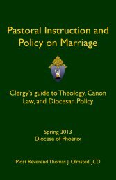 Pastoral Instruction and Policy on Marriage - Diocese of Phoenix ...