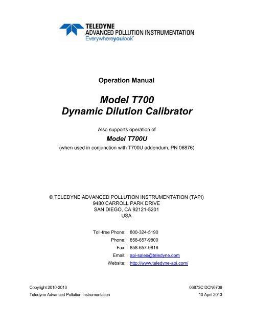 Model T700 Dynamic Dilution Calibrator - Teledyne API