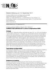 Medienmitteilung vom 13. September 2011 - Nairs