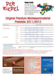 Original Premium Montessorimaterial Preisliste 2011 ... - Riedel GmbH