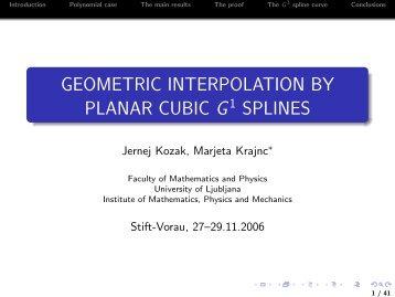 Geometric interpolation by planar cubic G^1 splines - Industrial ...