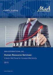 Human Resource Services: - M&A International Inc.